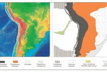 Delimitación de las distintas unidades de relieve en un área de la placa sudamericana.